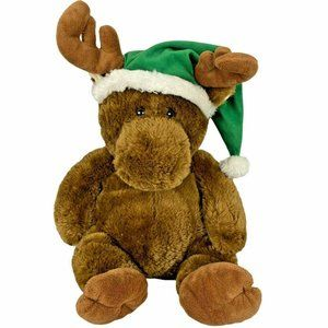 Large Brown Moose Christmas XMAS Plush Green Hat